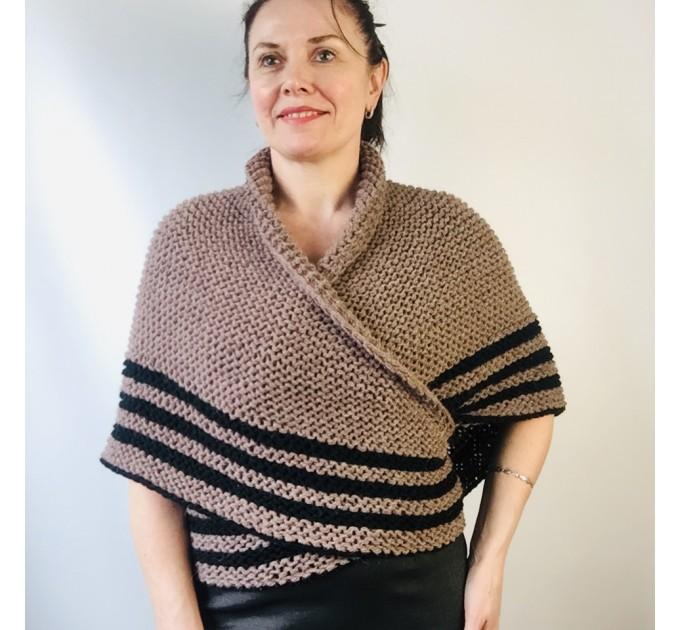 Ivory Outlander Shawl Alpaca, Beige Wool Triangle Shawl knit Brown Claire Shawl, Black Gray sontag shawl anniversary gift her wife mom  Shawl Alpaca  12