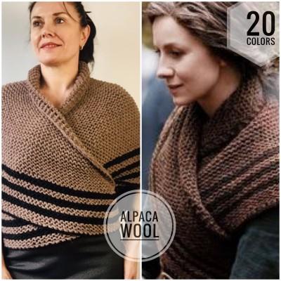 Outlander Inspired Claire Shawl Wool Triangle Shawl Alpaca sontag shawl Knit warm shoulder