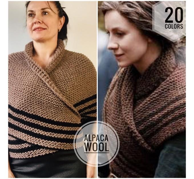 Brown Outlander rent shawl Claire Fraser knit shoulder wrap brown alpaca triangle shawl sontag shawl anniversary gift wife mom  Shawl Alpaca  6