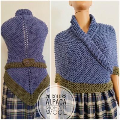 Outlander shawl Carolina Shawl alpaca knit shoulder wrap Inspired Claire blue wool triangle shawl scottish wedding shawl outlander gifts