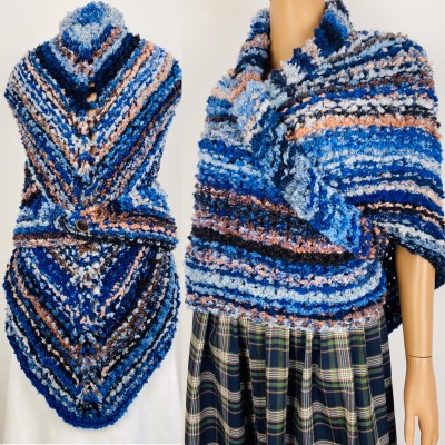 Blue Outlander rent Shawl Claire Knit warm shoulder Wrap, Brown Wool sontag Triangle Shawl for Mom Her Mohair Inspired Outlander multicolor