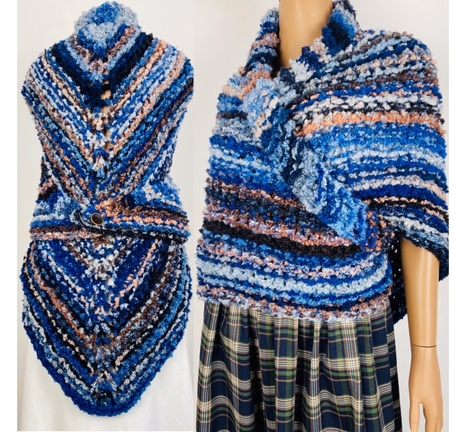 Blue Outlander rent Shawl Claire Knit warm shoulder Wrap, Brown Wool sontag Triangle Shawl for Mom Her Mohair Inspired Outlander multicolor  Shawl Wool Mohair