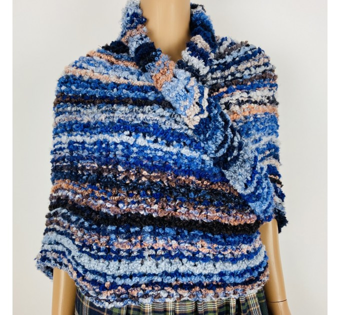 Blue Outlander rent Shawl Claire Knit warm shoulder Wrap, Brown Wool sontag Triangle Shawl for Mom Her Mohair Inspired Outlander multicolor  Shawl Wool Mohair  1