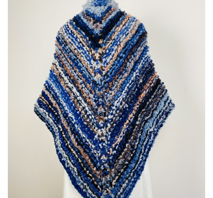 Blue Outlander rent Shawl Claire Knit warm shoulder Wrap, Brown Wool sontag Triangle Shawl for Mom Her Mohair Inspired Outlander multicolor  Shawl Wool Mohair  4