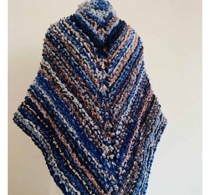 Blue Outlander rent Shawl Claire Knit warm shoulder Wrap, Brown Wool sontag Triangle Shawl for Mom Her Mohair Inspired Outlander multicolor  Shawl Wool Mohair  6