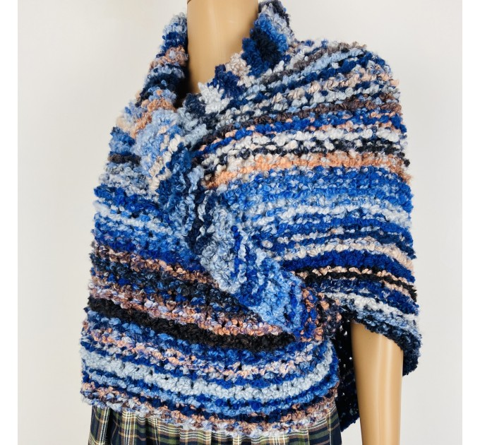 Blue Outlander rent Shawl Claire Knit warm shoulder Wrap, Brown Wool sontag Triangle Shawl for Mom Her Mohair Inspired Outlander multicolor  Shawl Wool Mohair  2