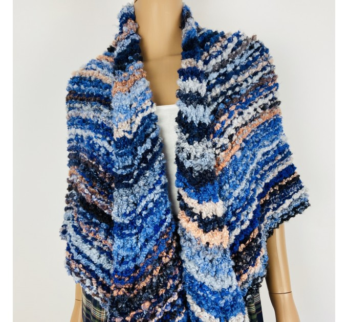 Blue Outlander rent Shawl Claire Knit warm shoulder Wrap, Brown Wool sontag Triangle Shawl for Mom Her Mohair Inspired Outlander multicolor  Shawl Wool Mohair  3