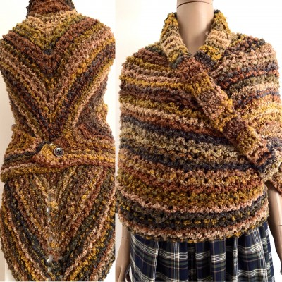Obsidian brown Outlander Claire rent shawl autumn wool sontag triangle shawl halloween knit shoulder wrap mohair Inspired Outlander shawl