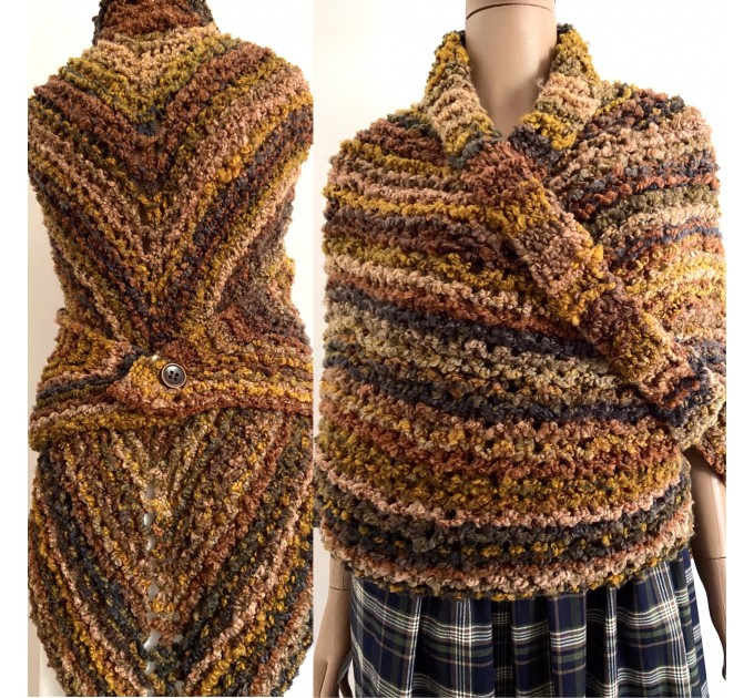 Obsidian brown Outlander Claire rent shawl autumn wool sontag triangle shawl halloween knit shoulder wrap mohair Inspired Outlander shawl  Shawl Wool Mohair