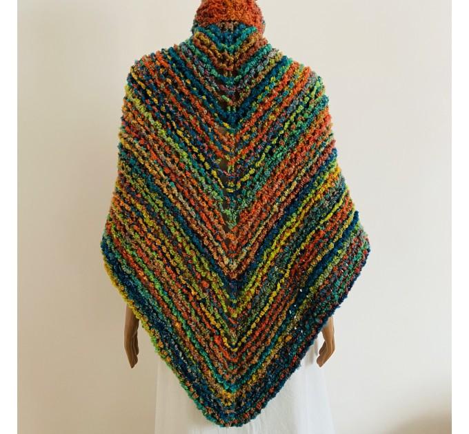Rainbow Outlander Claire rent shawl orange fall wool triangle shawl halloween knit shoulder wrap mohair celtic shawl Inspired Carolina shawl  Shawl Wool Mohair  3