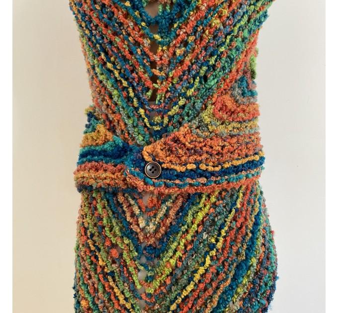 Rainbow Outlander Claire rent shawl orange fall wool triangle shawl halloween knit shoulder wrap mohair celtic shawl Inspired Carolina shawl  Shawl Wool Mohair  2