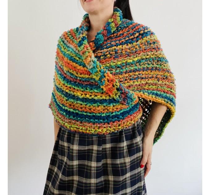 Rainbow Outlander Claire rent shawl orange fall wool triangle shawl halloween knit shoulder wrap mohair celtic shawl Inspired Carolina shawl  Shawl Wool Mohair