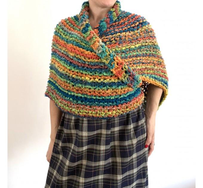 Rainbow Outlander Claire rent shawl orange fall wool triangle shawl halloween knit shoulder wrap mohair celtic shawl Inspired Carolina shawl  Shawl Wool Mohair  5