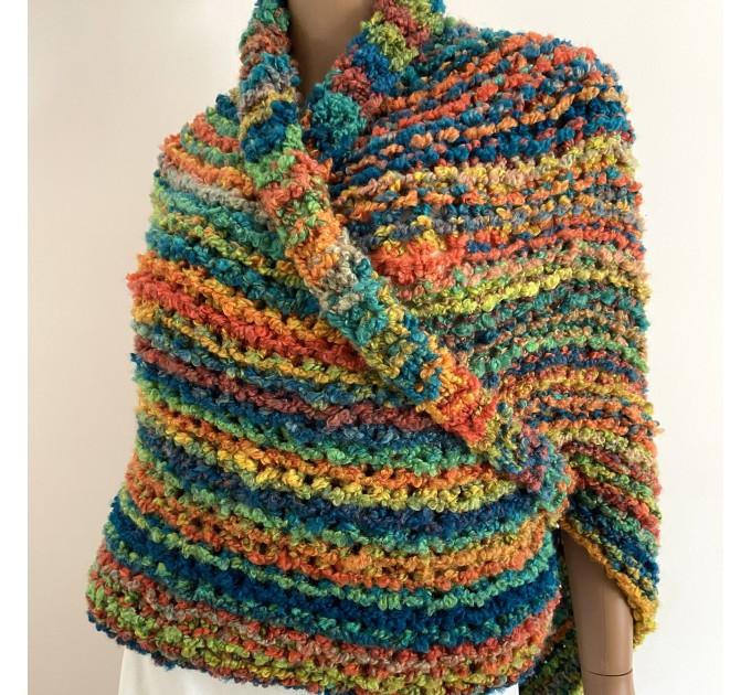 Rainbow Outlander Claire rent shawl orange fall wool triangle shawl halloween knit shoulder wrap mohair celtic shawl Inspired Carolina shawl  Shawl Wool Mohair  1