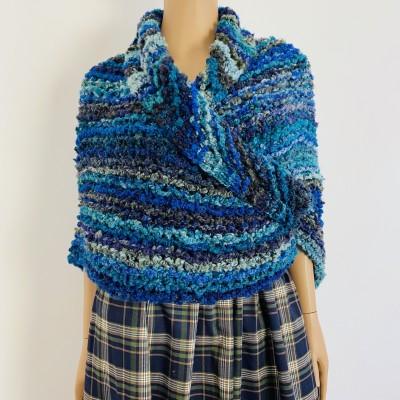 Navy blue Outlander Claire rent shawl winter wool triangle shawl sontag celtic shawl warm knit shoulder wrap Inspired Outlander shawl mohair
