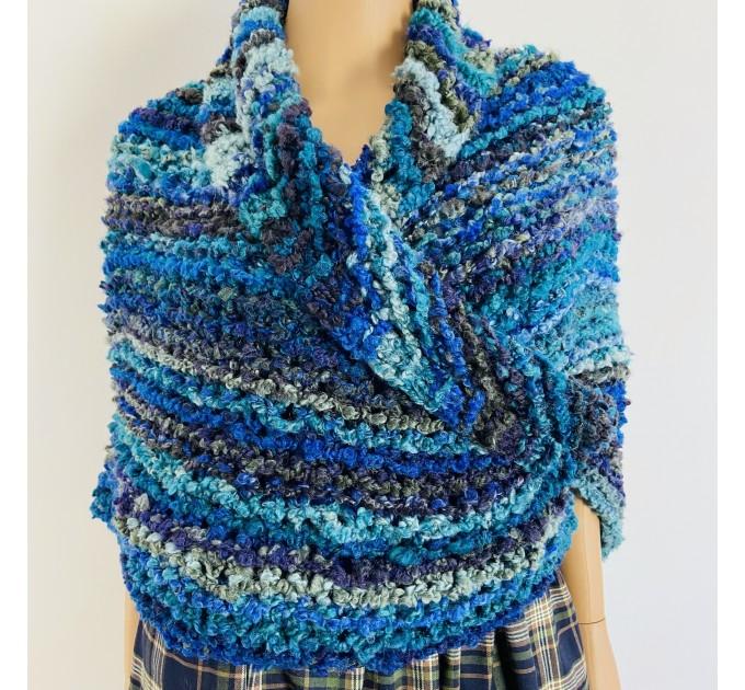 Navy blue Outlander Claire rent shawl winter wool triangle shawl sontag celtic shawl warm knit shoulder wrap Inspired Outlander shawl mohair  Shawl Wool Mohair  2