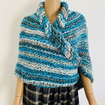 Blue Outlander Claire rent shawl fall winter wool sontag triangle shawl gray celtic knit shoulder wrap mohair Inspired Outlander shawl