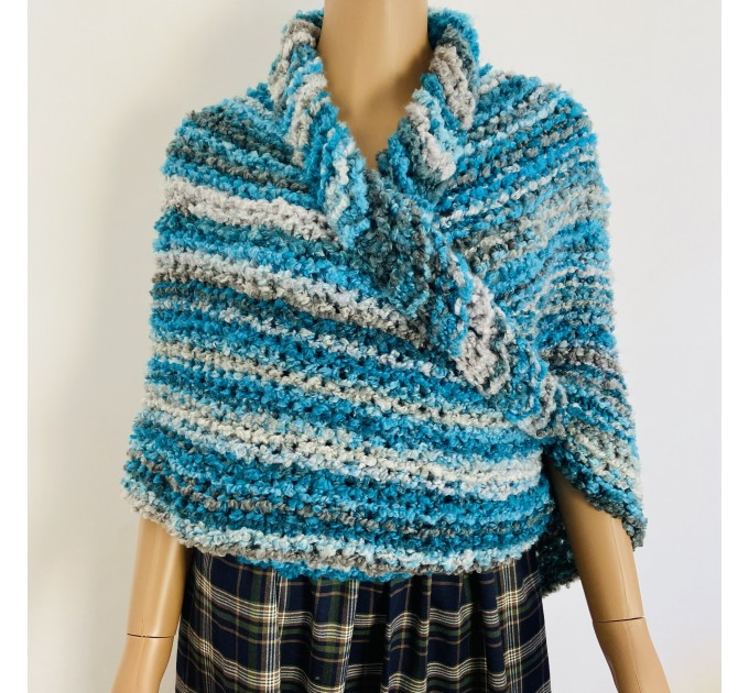 Blue Outlander Claire rent shawl fall winter wool sontag triangle shawl gray celtic knit shoulder wrap mohair Inspired Outlander shawl  Shawl Wool Mohair