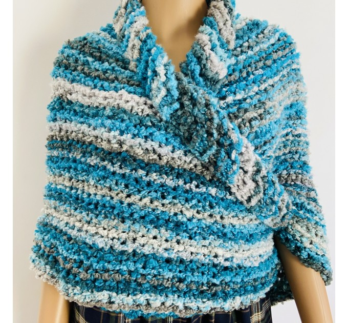 Blue Outlander Claire rent shawl fall winter wool sontag triangle shawl gray celtic knit shoulder wrap mohair Inspired Outlander shawl  Shawl Wool Mohair  5
