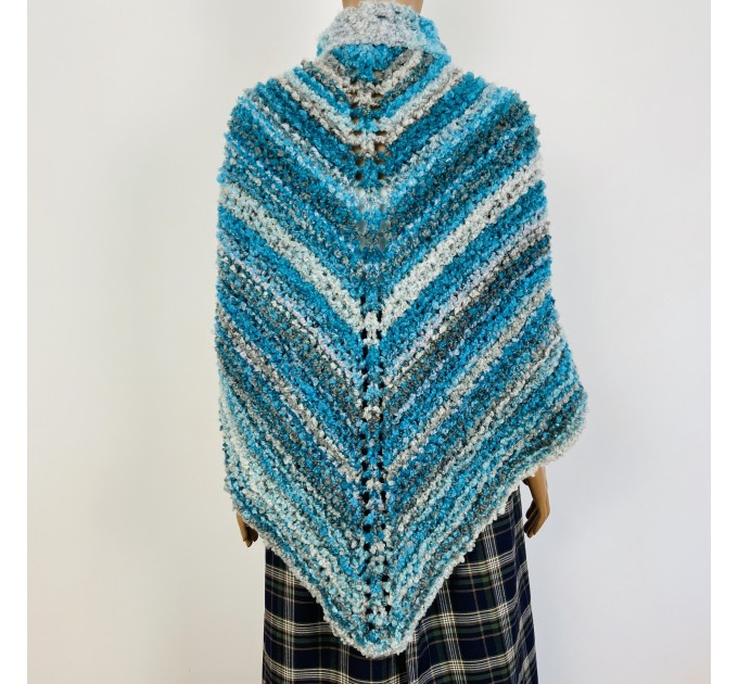 Blue Outlander Claire rent shawl fall winter wool sontag triangle shawl gray celtic knit shoulder wrap mohair Inspired Outlander shawl  Shawl Wool Mohair  1