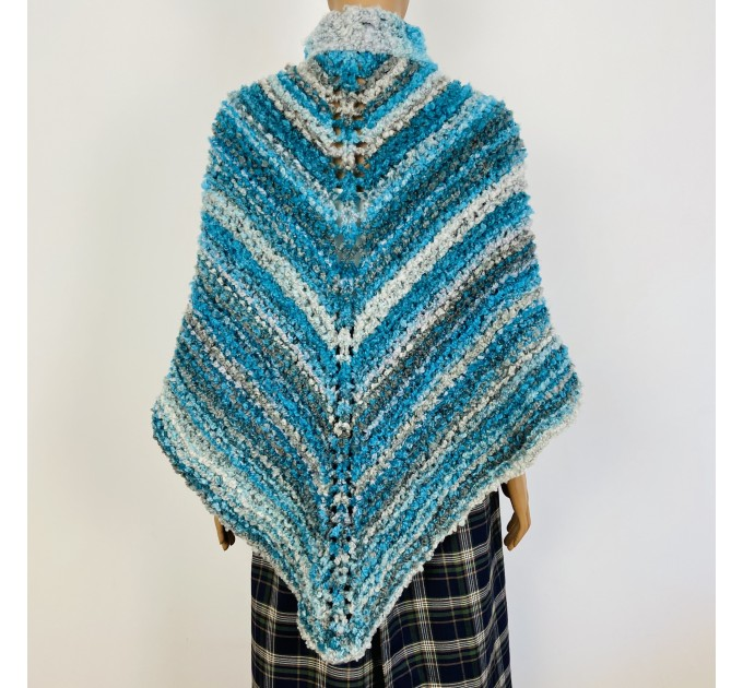 Blue Outlander Claire rent shawl fall winter wool sontag triangle shawl gray celtic knit shoulder wrap mohair Inspired Outlander shawl  Shawl Wool Mohair  3