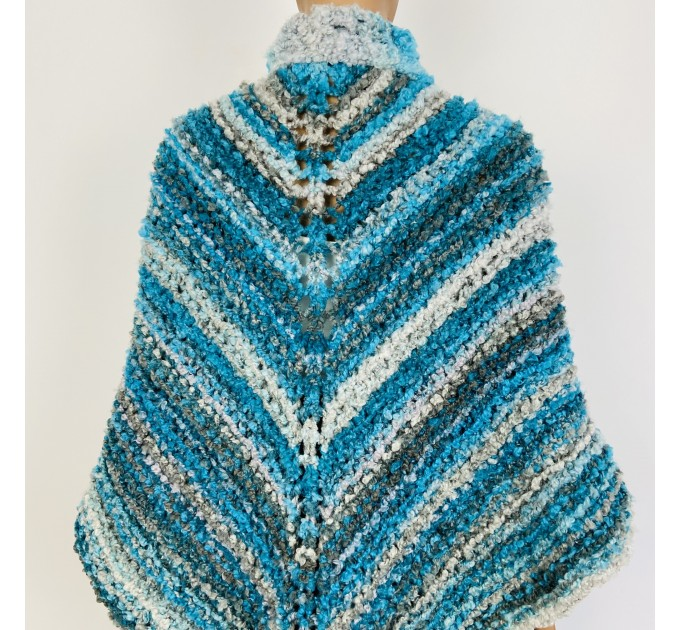 Blue Outlander Claire rent shawl fall winter wool sontag triangle shawl gray celtic knit shoulder wrap mohair Inspired Outlander shawl  Shawl Wool Mohair  4
