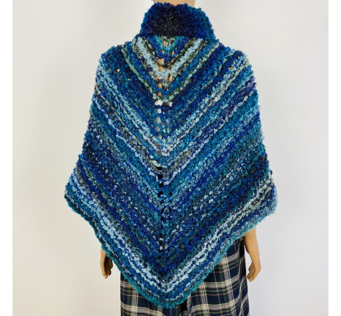 Navy blue Outlander Claire rent shawl winter wool triangle shawl sontag celtic shawl warm knit shoulder wrap Inspired Outlander shawl mohair  Shawl Wool Mohair  3