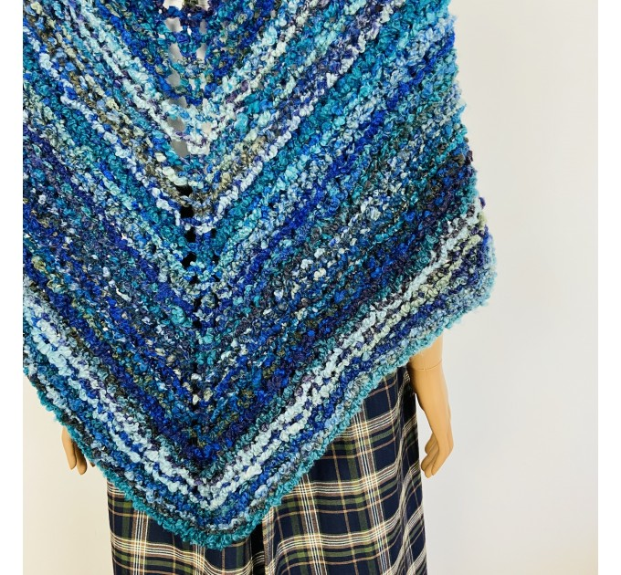 Navy blue Outlander Claire rent shawl winter wool triangle shawl sontag celtic shawl warm knit shoulder wrap Inspired Outlander shawl mohair  Shawl Wool Mohair  4