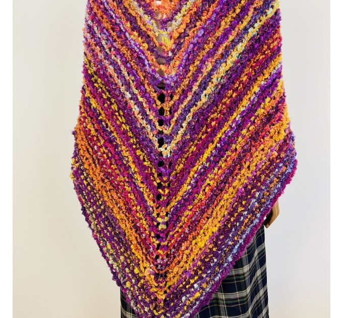 Pink Outlander rent Claire Shawl knit warm shoulder wrap orange mohair sontag wool triangle shawl for mom wife inspired Outlander multicolor  Shawl Wool Mohair  1