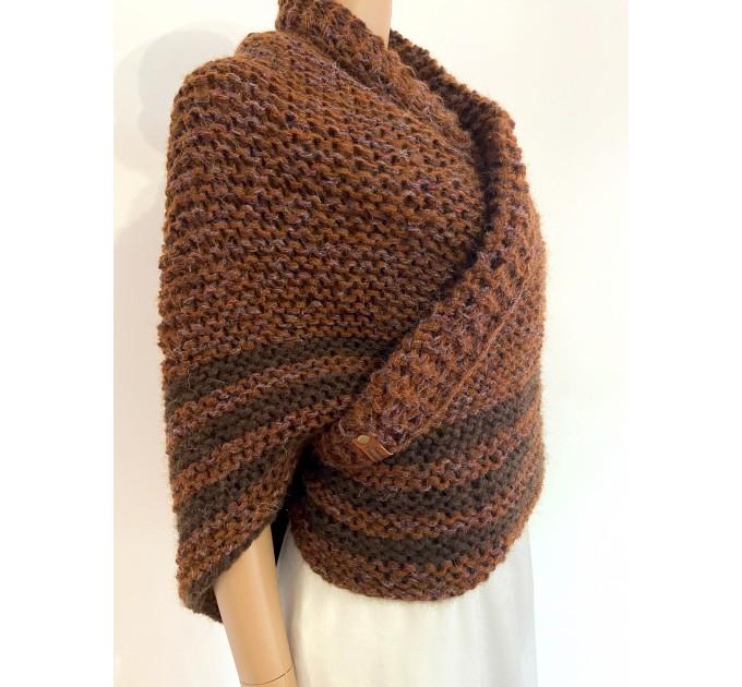 Brown Outlander Claire Shawl Triangle Shoulder alpaca, Outlander shawl knit Wrap angora, Wool Sontag shawl anniversary gift Mom Her Sister  Shawl Alpaca  1