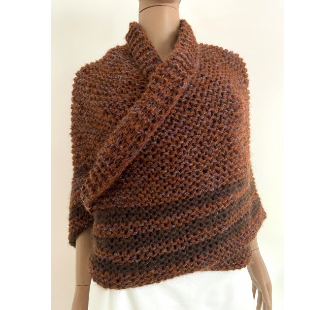 Brown Outlander Claire Shawl Triangle Shoulder alpaca, Outlander shawl knit Wrap angora, Wool Sontag shawl anniversary gift Mom Her Sister  Shawl Alpaca  2