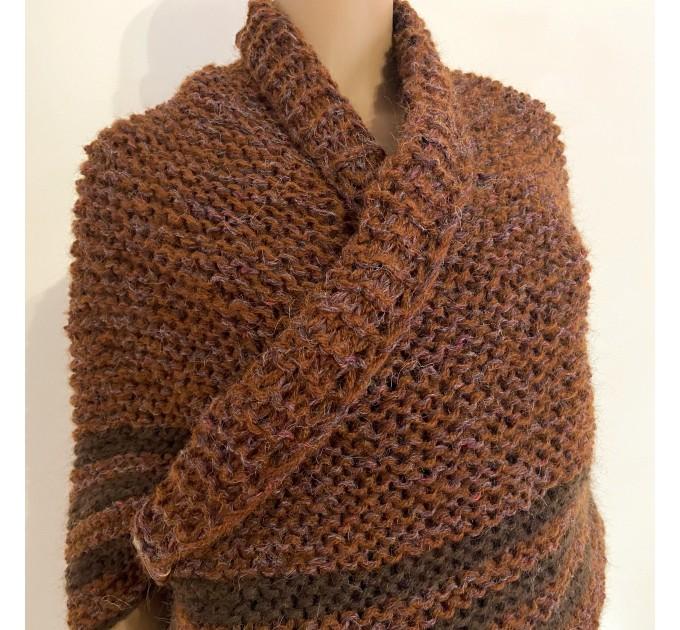 Brown Outlander Claire Shawl Triangle Shoulder alpaca, Outlander shawl knit Wrap angora, Wool Sontag shawl anniversary gift Mom Her Sister  Shawl Alpaca  3