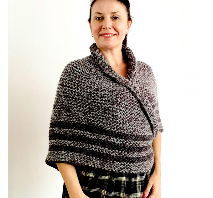 Gray Outlander shawl knit wrap angora, Claire shawl alpaca with button for fastening Sontag Triangle wool Shawl Chunky warm shoulder wrap  Shawl Alpaca  1