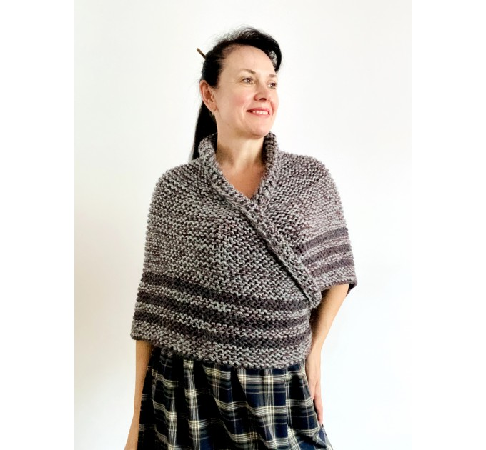 Gray Outlander shawl knit wrap angora, Claire shawl alpaca with button for fastening Sontag Triangle wool Shawl Chunky warm shoulder wrap  Shawl Alpaca  2