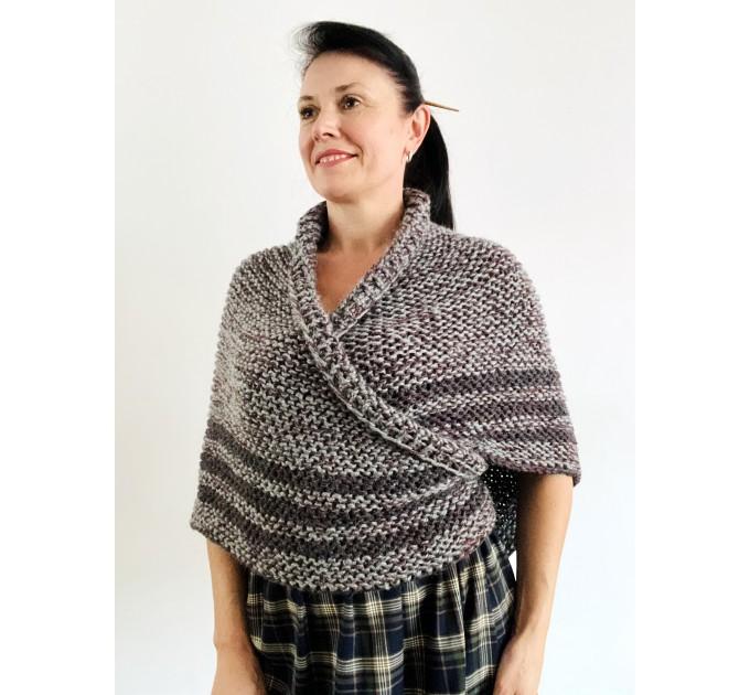 Gray Outlander shawl knit wrap angora, Claire shawl alpaca with button for fastening Sontag Triangle wool Shawl Chunky warm shoulder wrap  Shawl Alpaca  3