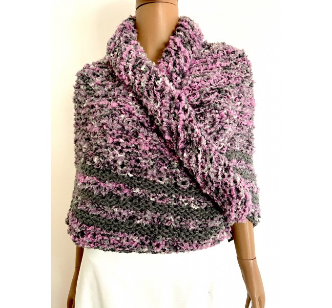 Lilac Claire outlander shawl knit shoulder wrap gray alpaca triangle wool shawl sontag celtic shawl Carolina Shawl outlander  Shawl Alpaca  3