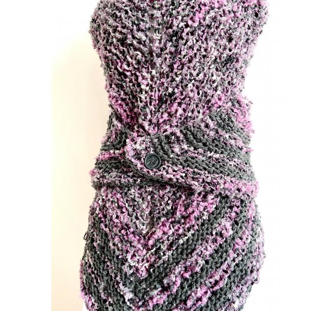 Lilac Claire outlander shawl knit shoulder wrap gray alpaca triangle wool shawl sontag celtic shawl Carolina Shawl outlander  Shawl Alpaca  6