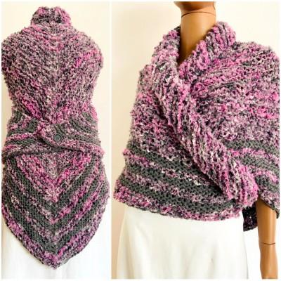 Lilac Claire outlander shawl knit shoulder wrap gray alpaca triangle wool shawl sontag celtic shawl Carolina Shawl outlander