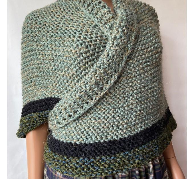 Outlander shawl knit wrap Claire rent shawl winter celtic shawl sontag green triangle alpaca wool shawl Outlander inspired Carolina Shawl  Shawl Alpaca  3