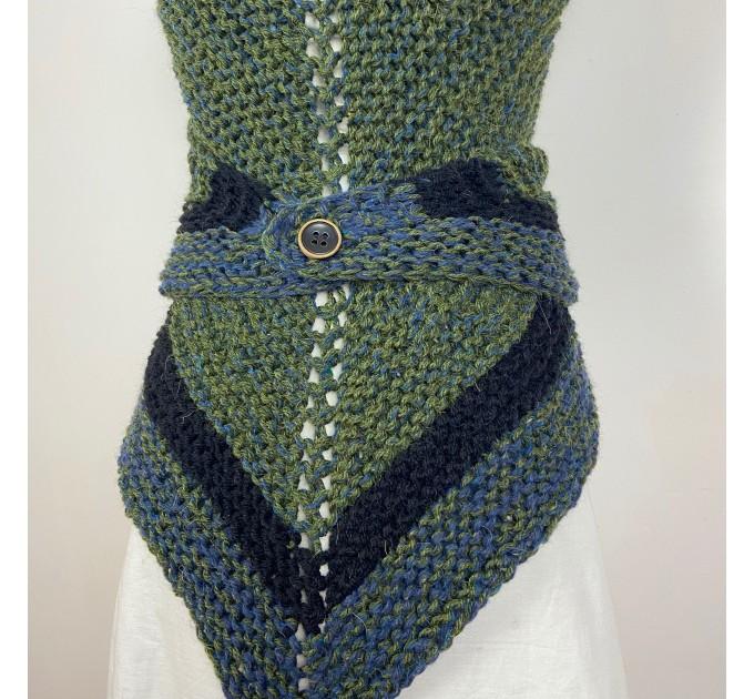 Outlander inspired Сlaire Shawl knit shoulder wrap celtic shawl winter triangle alpaca shawl green wool sontag Outlander Carolina shawl  Shawl Alpaca  3