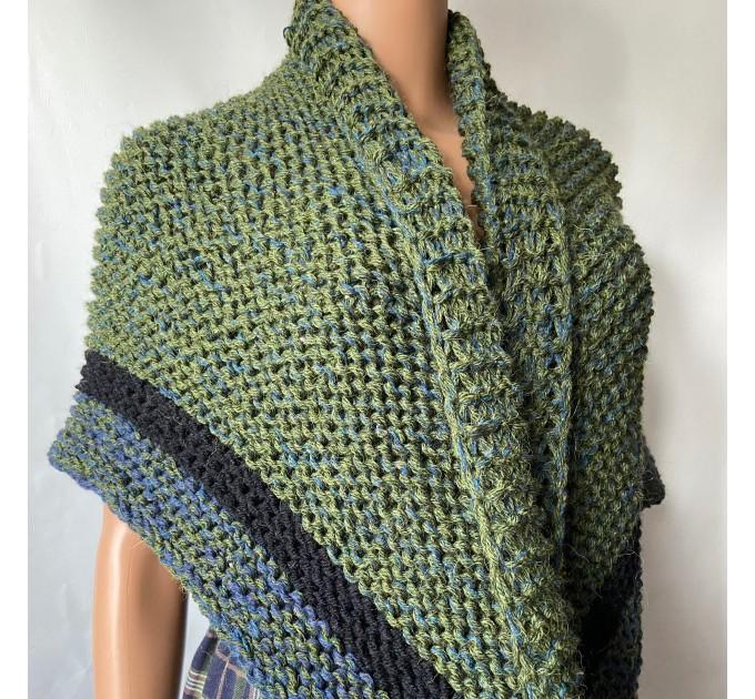 Outlander inspired Сlaire Shawl knit shoulder wrap celtic shawl winter triangle alpaca shawl green wool sontag Outlander Carolina shawl  Shawl Alpaca  2
