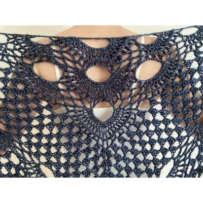 Navy shawl for wedding bridal blue triangle shawl fringe bride winter shawl wedding wrap wool shawl bridesmaid shawl anniversary gift