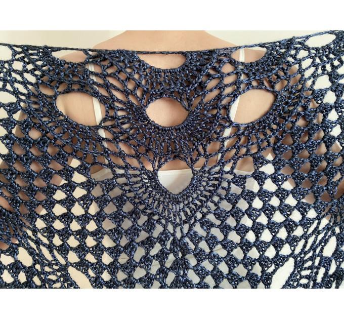 Navy shawl for wedding bridal blue triangle shawl fringe bride winter shawl wedding wrap wool shawl bridesmaid shawl anniversary gift  Shawl / Wraps