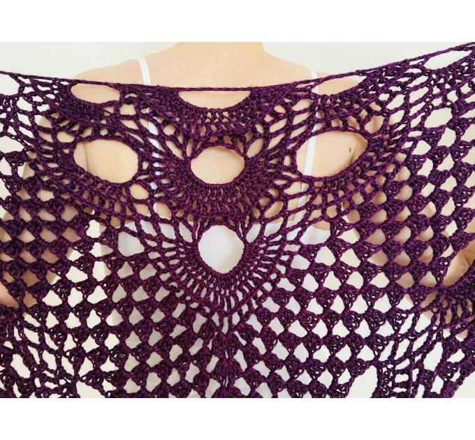Purple triangle shawl with fringe Lace shawl for wedding wrap wool bridal shawl bride cover up bridal stole wedding capelet bridesmaid shawl  Shawl / Wraps