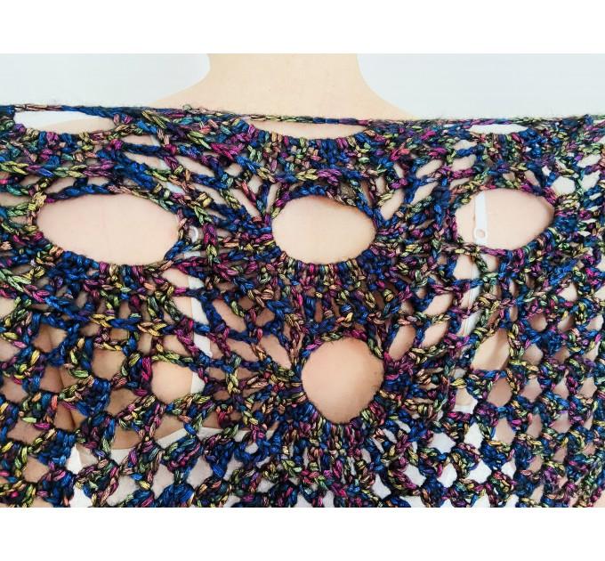 Rainbow black crochet cover up wedding capelet triangle shawl fringe wool bride stole bridesmaid capelet bridal cover up bride wrap  Shawl / Wraps