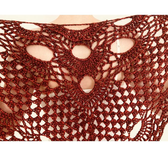 Red wedding shawl burgundy bride triangle shawl fringe winter bridal lace wrap wool bride cover up crochet bridesmaid capelet bridal stole  Wedding