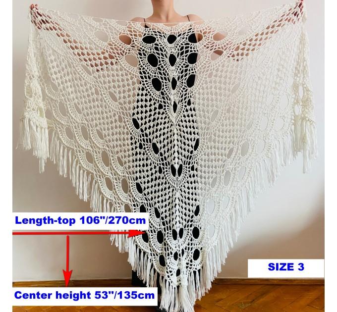 Beige shawl for wedding Bridesmaid shawl wedding capelet Wool triangle shawl fringe Lace shawl bridal stole bride winter shawl wrap  Wedding  15
