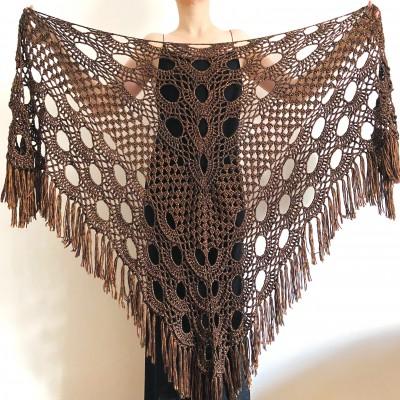 Copper wedding shawl, Bridal wrap shawl, Brown bridesmaid shawl Bride shawl, Triangle Shawl Fringe, Plus size clothing for women