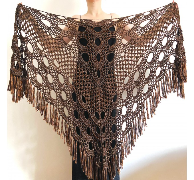 Copper wedding shawl, Bridal wrap shawl, Brown bridesmaid shawl Bride shawl, Triangle Shawl Fringe, Plus size clothing for women  Wedding