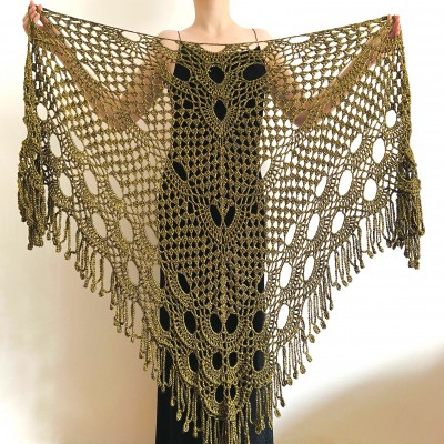 Yellow black lace shawl bridal shawl wedding capelet triangle shawl fringe wool bride stole bridesmaid capelet bride wrap